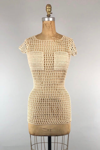 Rare 1960s Mod Mesh Mini Dress / Top