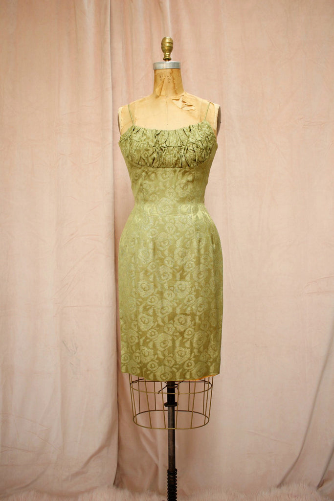 The Priscilla | Vintage 1950s-60s Lillie Rubin Moss Gold Lamé Dress Set