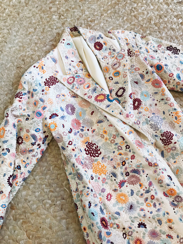 Rare 1920s Cream Silk Embroidered Floral Duster Coat