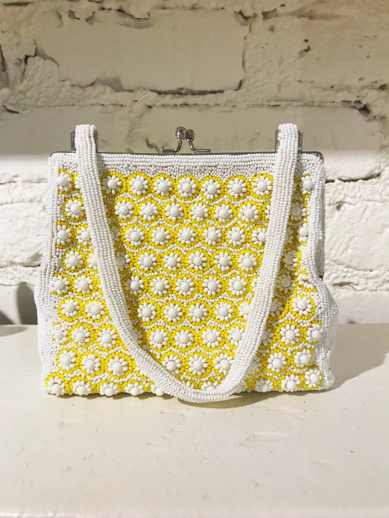 Vintage Beaded Daisy Bag
