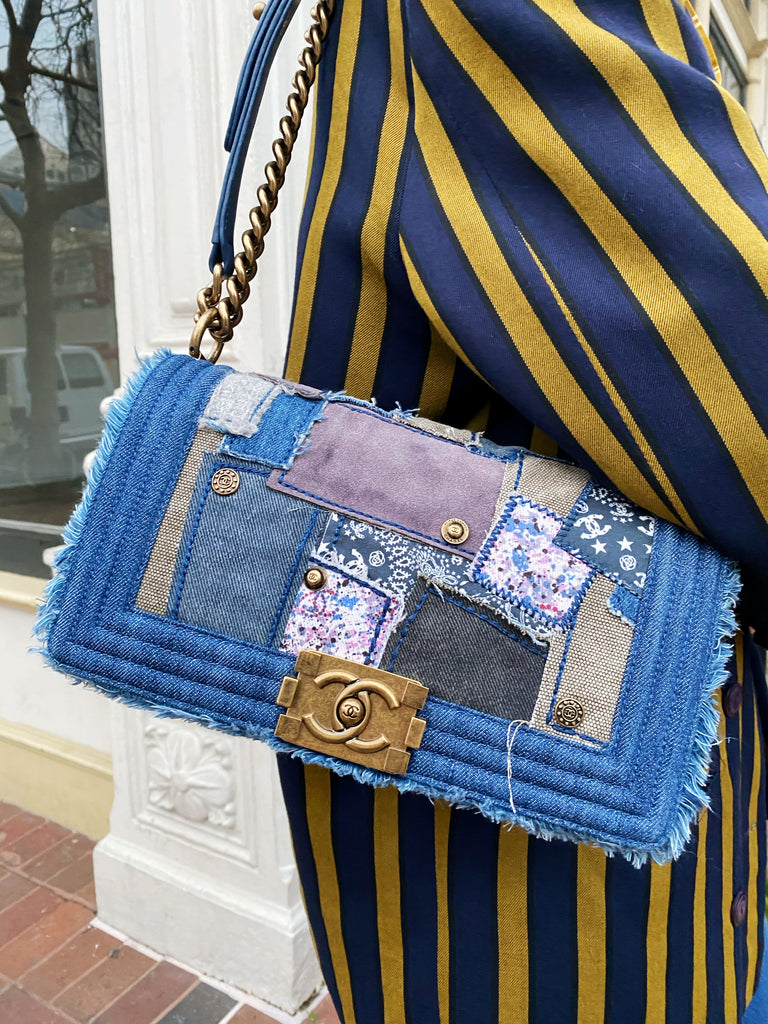 CHANEL Denim Patchwork Boy Bag Medium