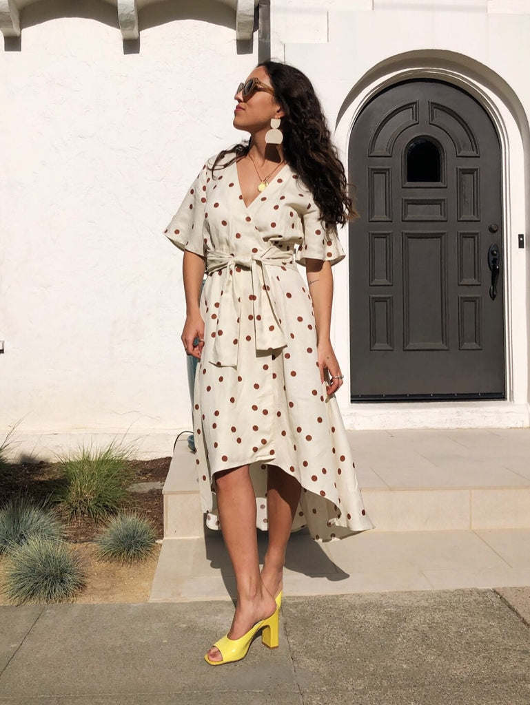 The Julia Dress - Linen Polka Dot