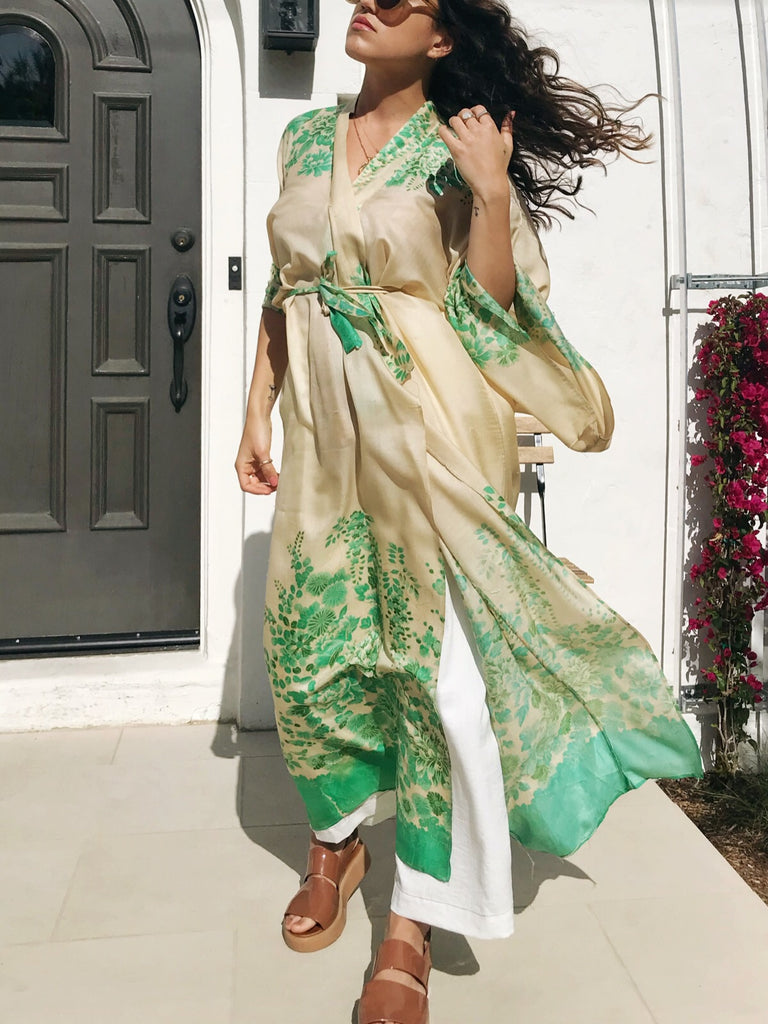 1920s Pongee Silk Kimono Robe with Green Florals