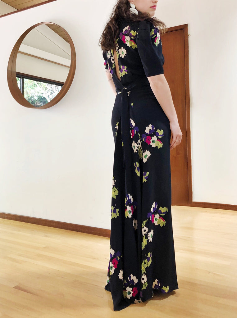 RESERVED 1930s Silk Floral Gown