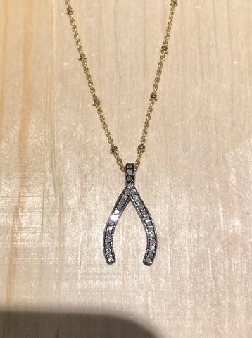 Wishbone - Pave Diamond Necklace in Yellow Gold & Silver