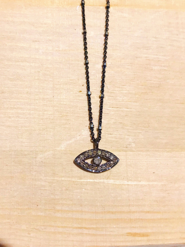 The Third Eye - Pave Diamond Necklace in Silver