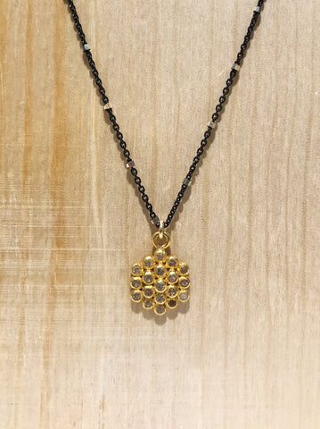 Flower - Pave Diamond Necklace in Yellow Gold & Silver