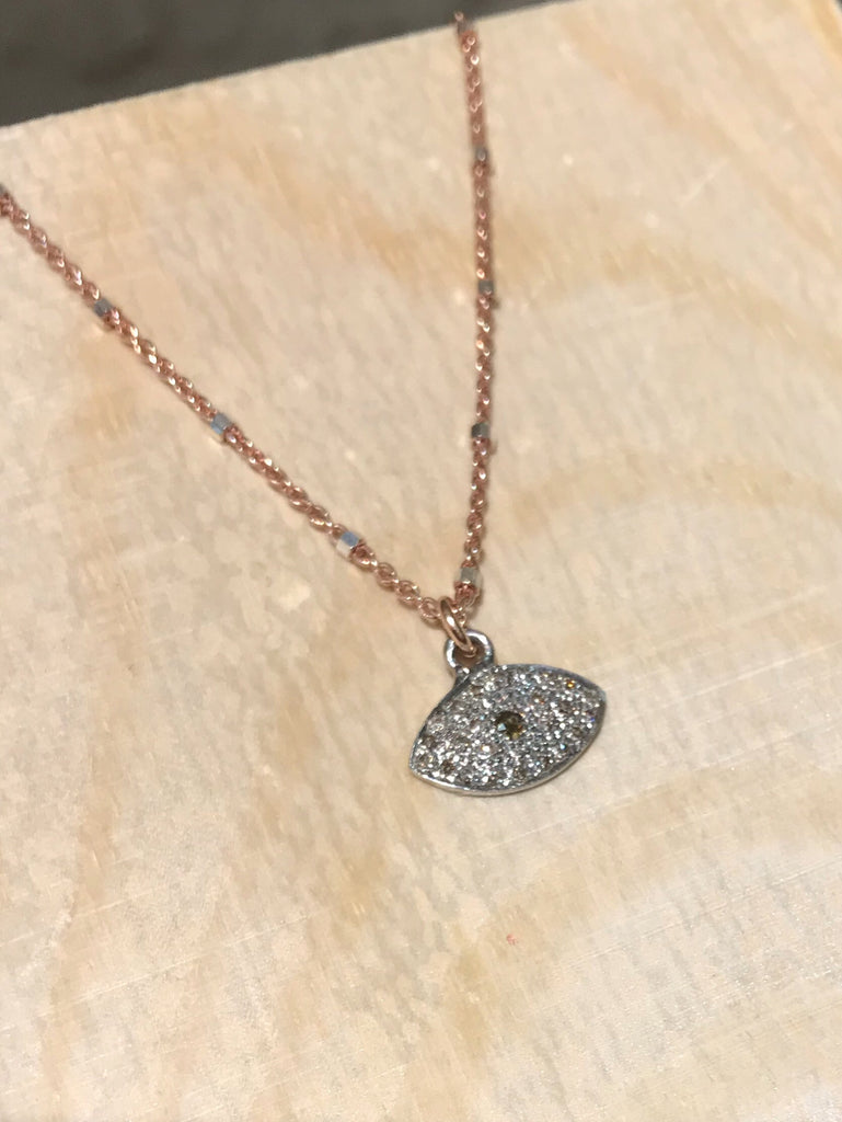 The Third Eye - Pave Diamond Necklace in Rose Gold