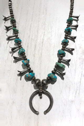 Rare 1940s Coin Silver & Turquoise Navajo Squash Blossom Necklace