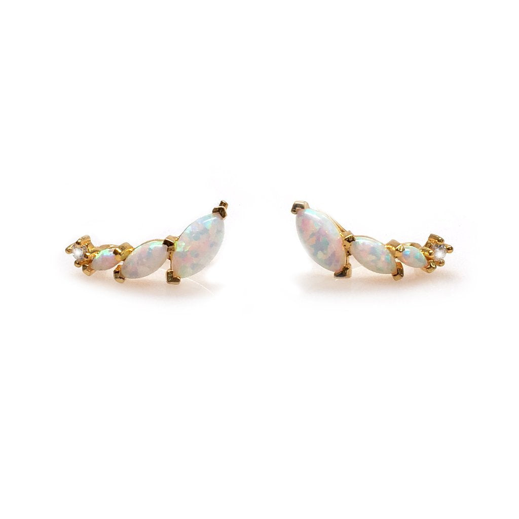 LA Kaiser Opal & Diamond Ear Climbers