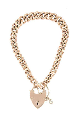 Victorian 9ct Rose Gold Heart Padlock Locket Bracelet Stamped 1889