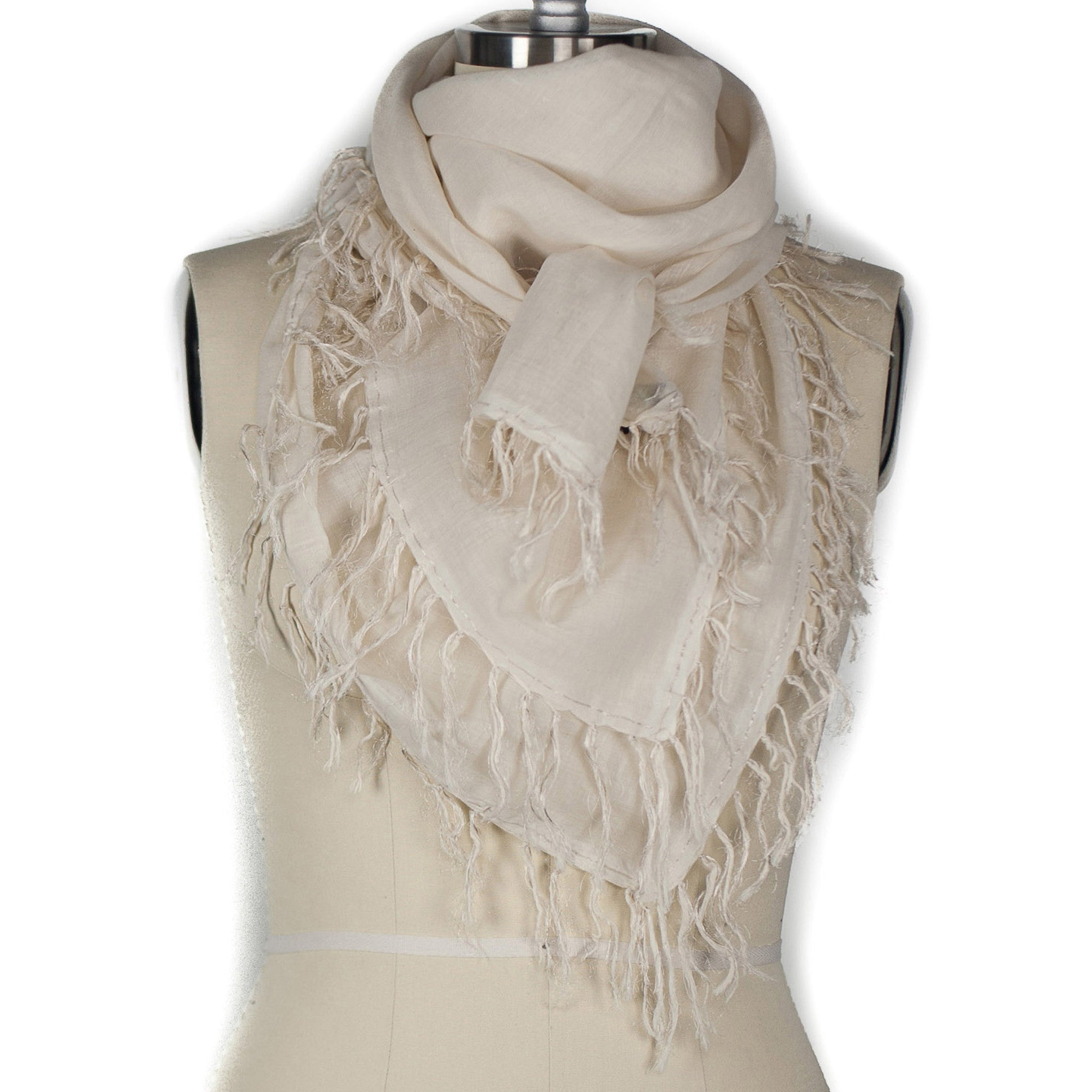 4 Sided Fringe Scarf - Sliver/Tan