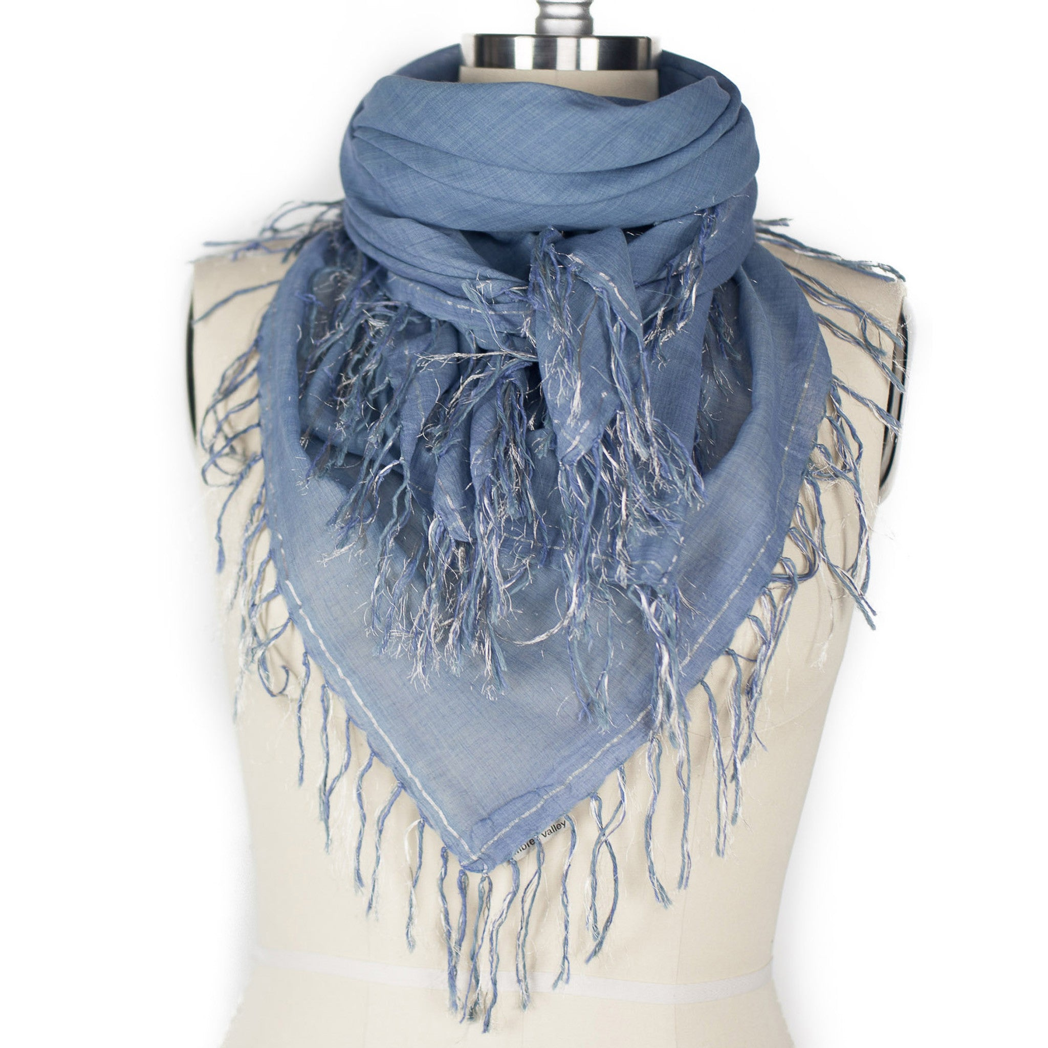 4 Sided Fringe Scarf - French Blue