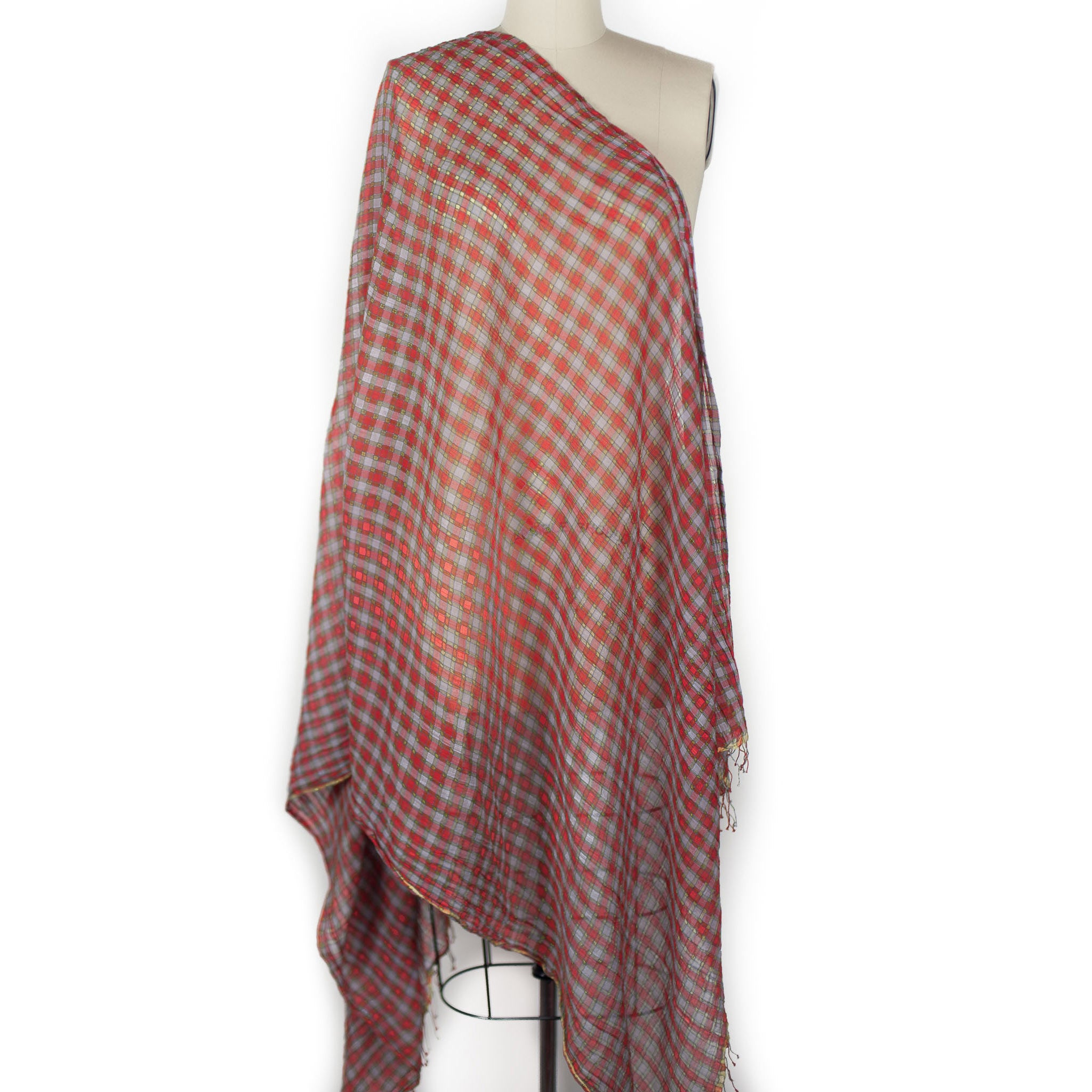 High Twist Check Scarf - Tomato/Lavender