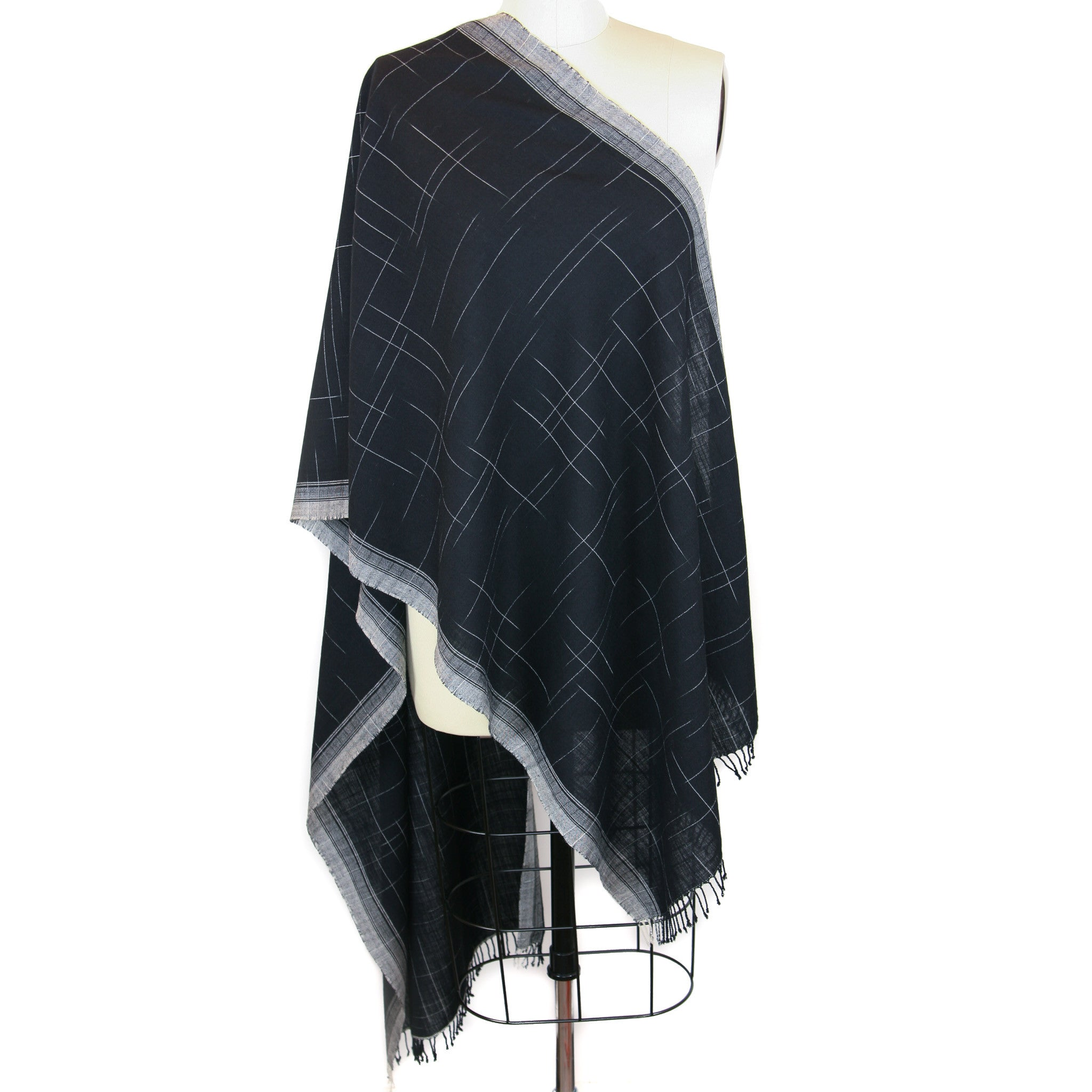 Hand Loomed Merino Wool Ikat Scarf <br> Black/White