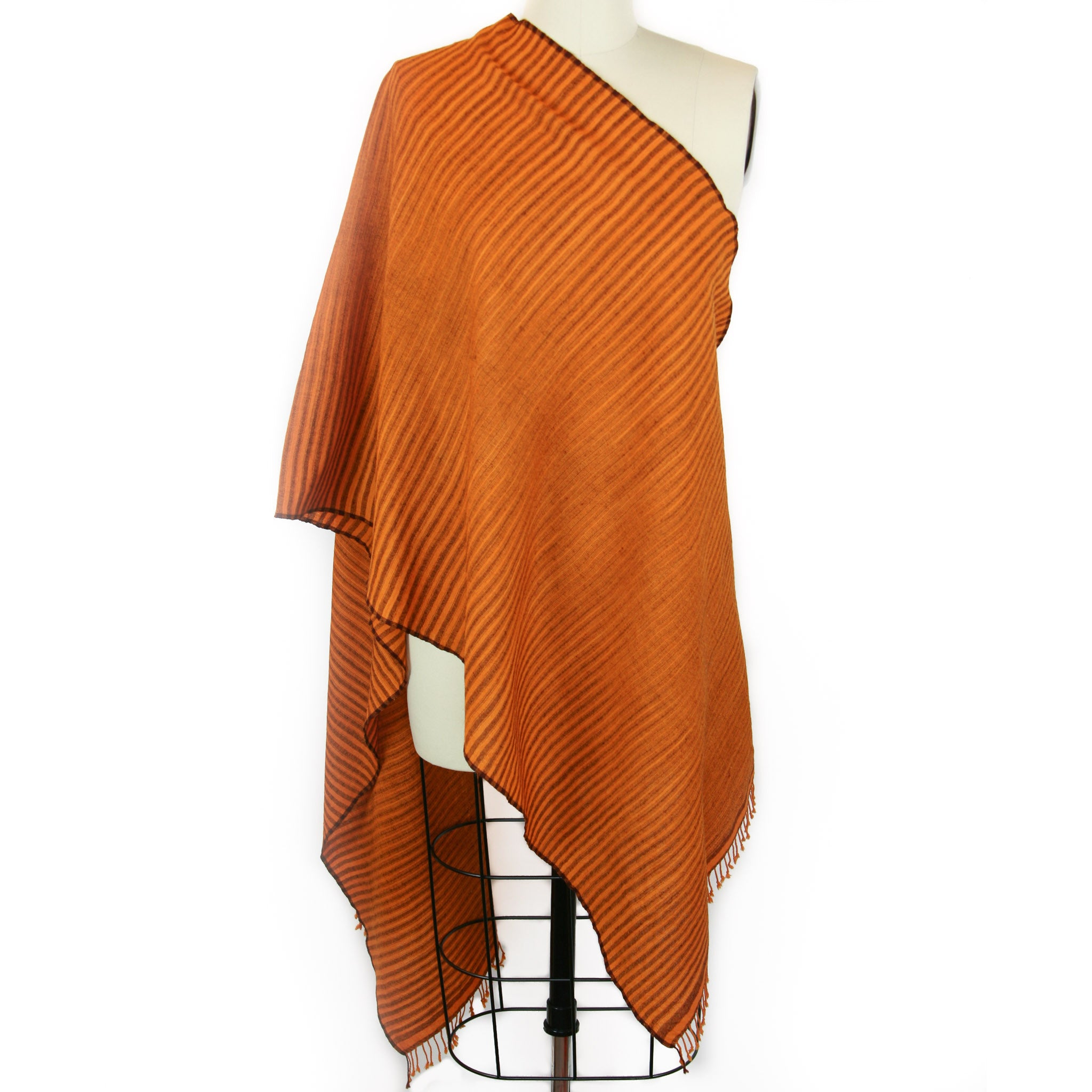 Hand Loomed Merino Wool Ikat Scarf <br> Rust/Chocolate