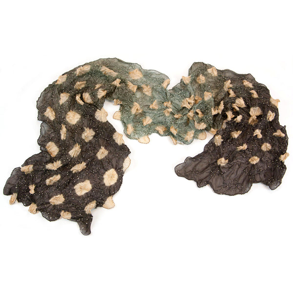 Mimbres Hand Dyed Silk Large Dot Bandhani Scarf Chocolate Blush