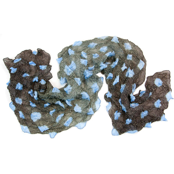 Mimbres Hand Dyed Silk Large Dot Bandhani Scarf Chocolate French Blue