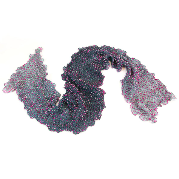 Mimbres Hand Dyed Silk Ombre Double Dot Bandhani Scarf Grey Pink
