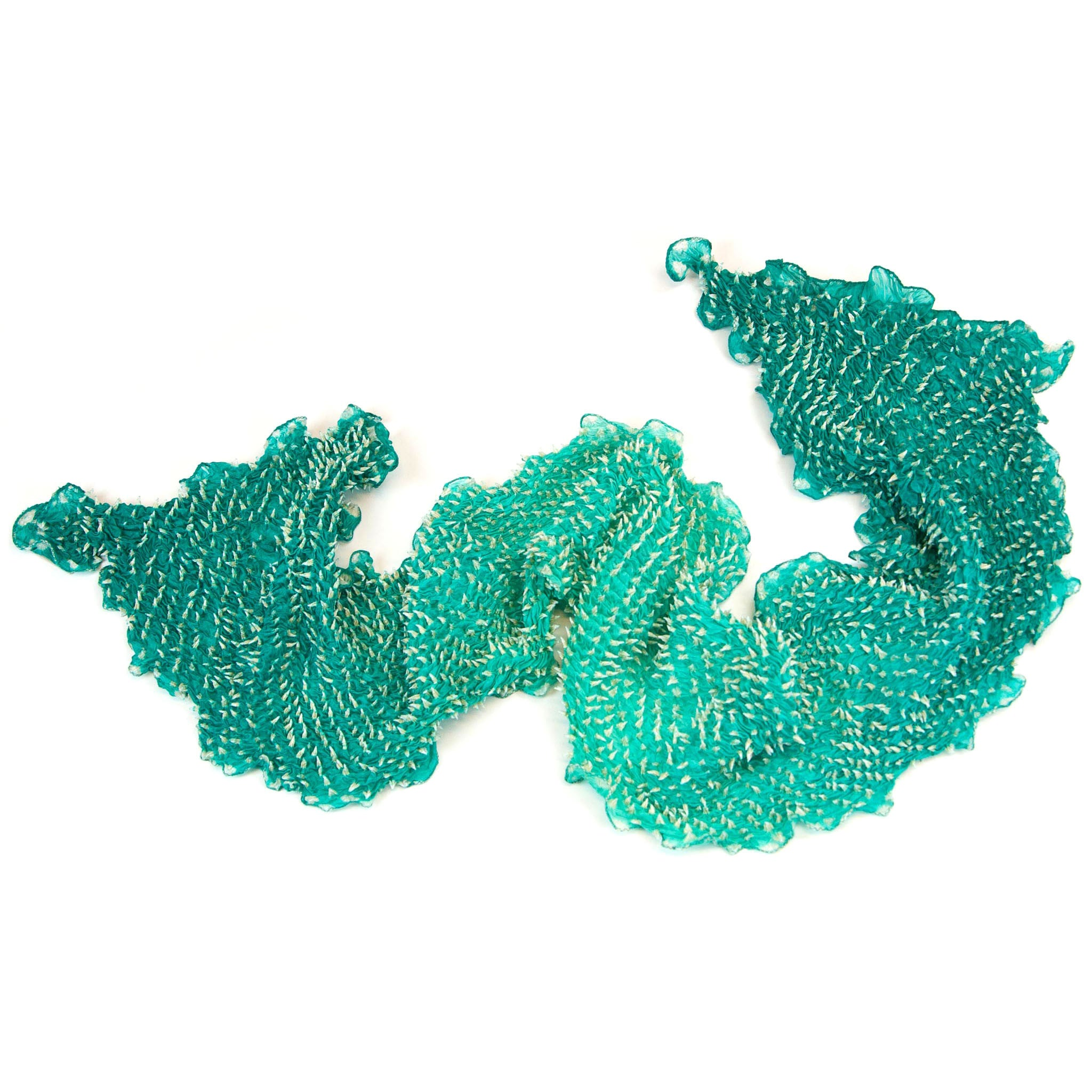 Mimbres Hand Dyed Silk Ombre Double Dot Bandhani Scarf Aqua Green