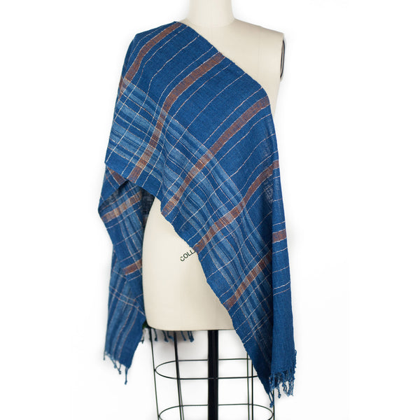 Striped Scarf - Indigo/Brown