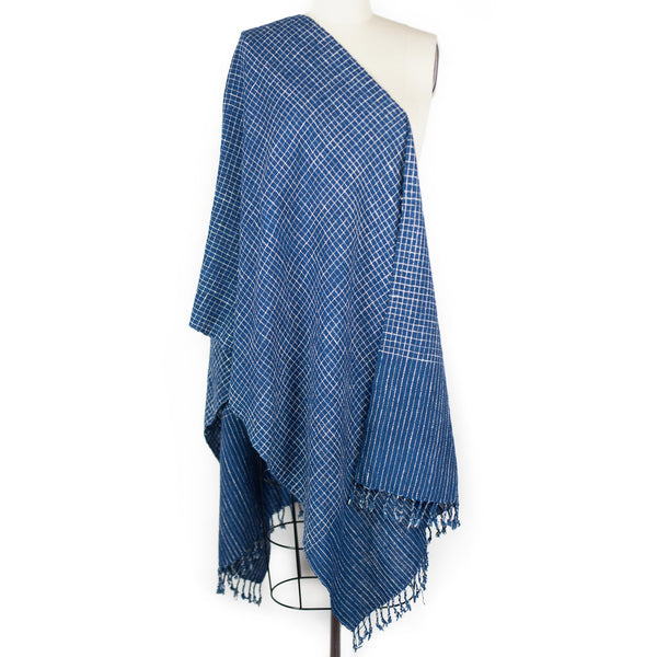 Small Check Scarf - Indigo/White