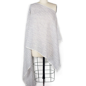 Broken Check Scarf - Blue/White