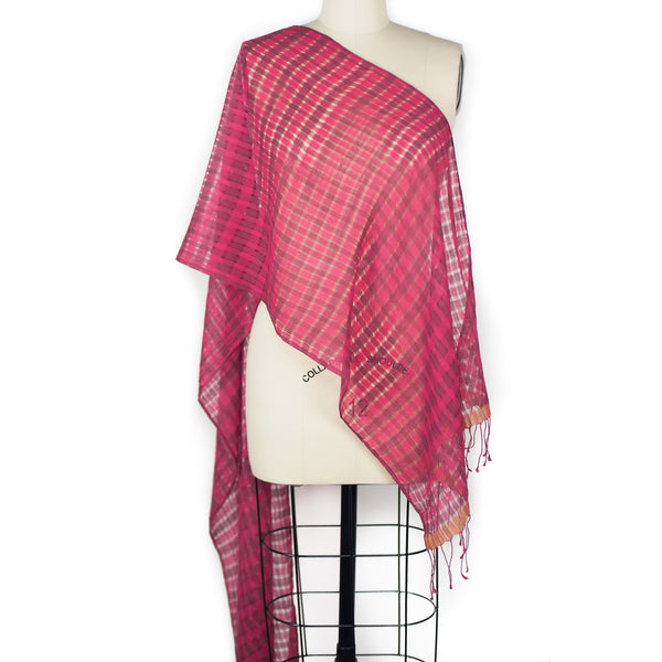 High Twist Check Scarf - Pink/Chocolate