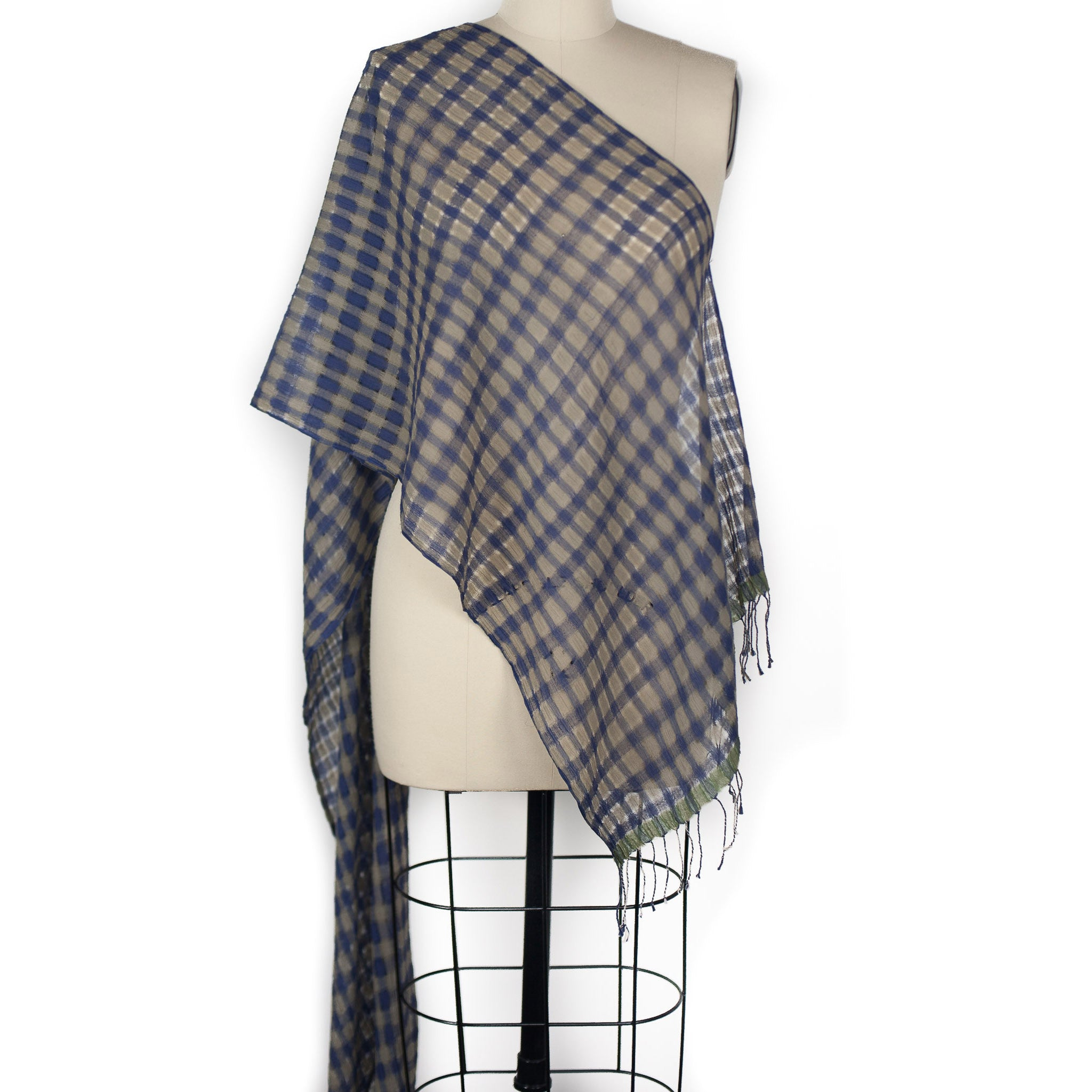 High Twist Check Scarf - Blue/Taupe