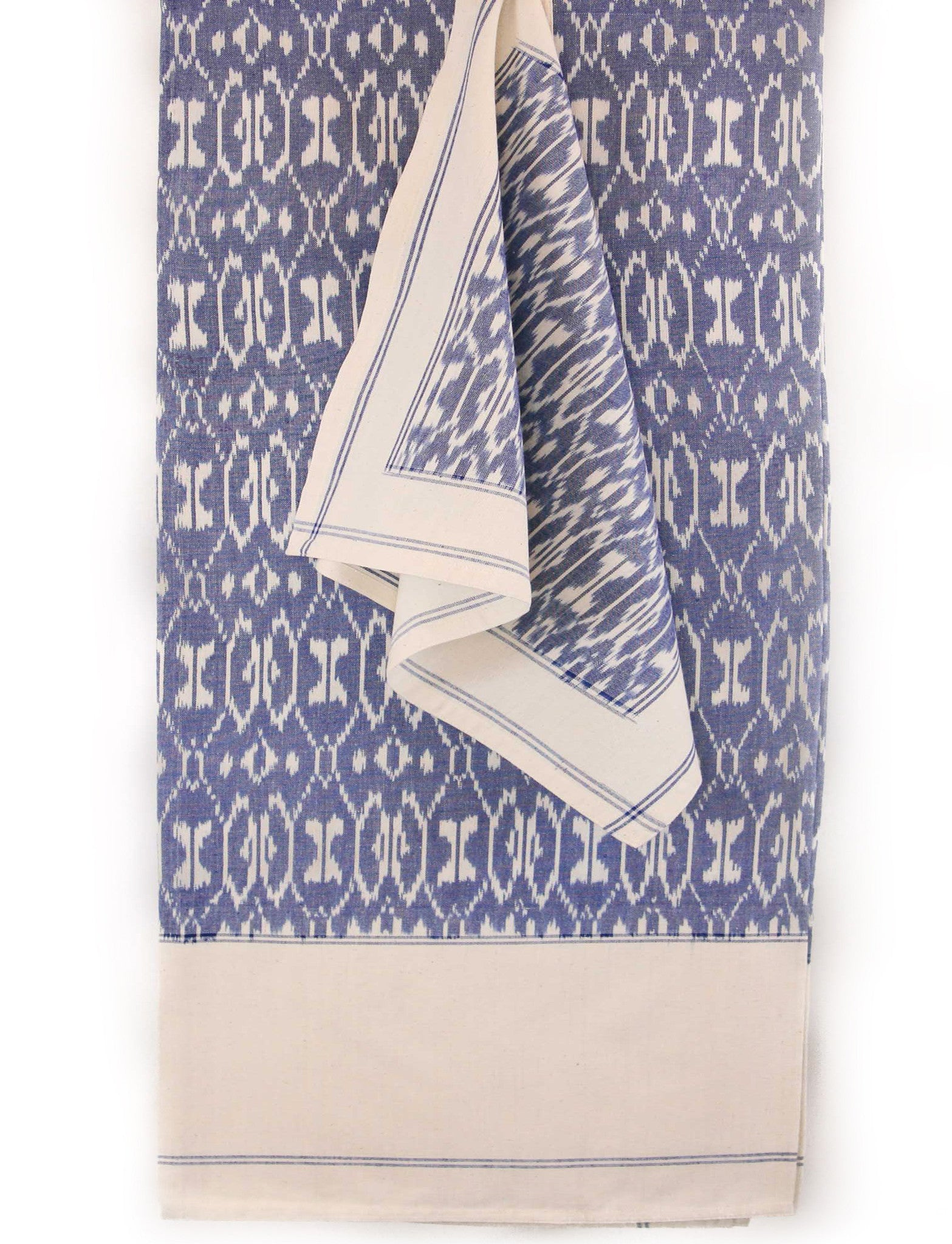 Cotton Ikat Iban Table Cloth Blue/White
