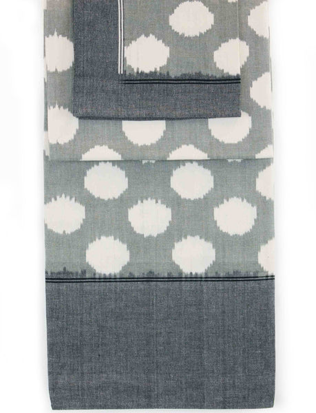 Cotton Ikat Clouds Table Cloth Grey/White