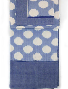 Cotton Ikat Clouds Table Cloth Blue/White