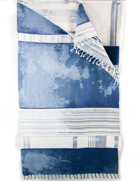 Table Runner Indigo White Bleached