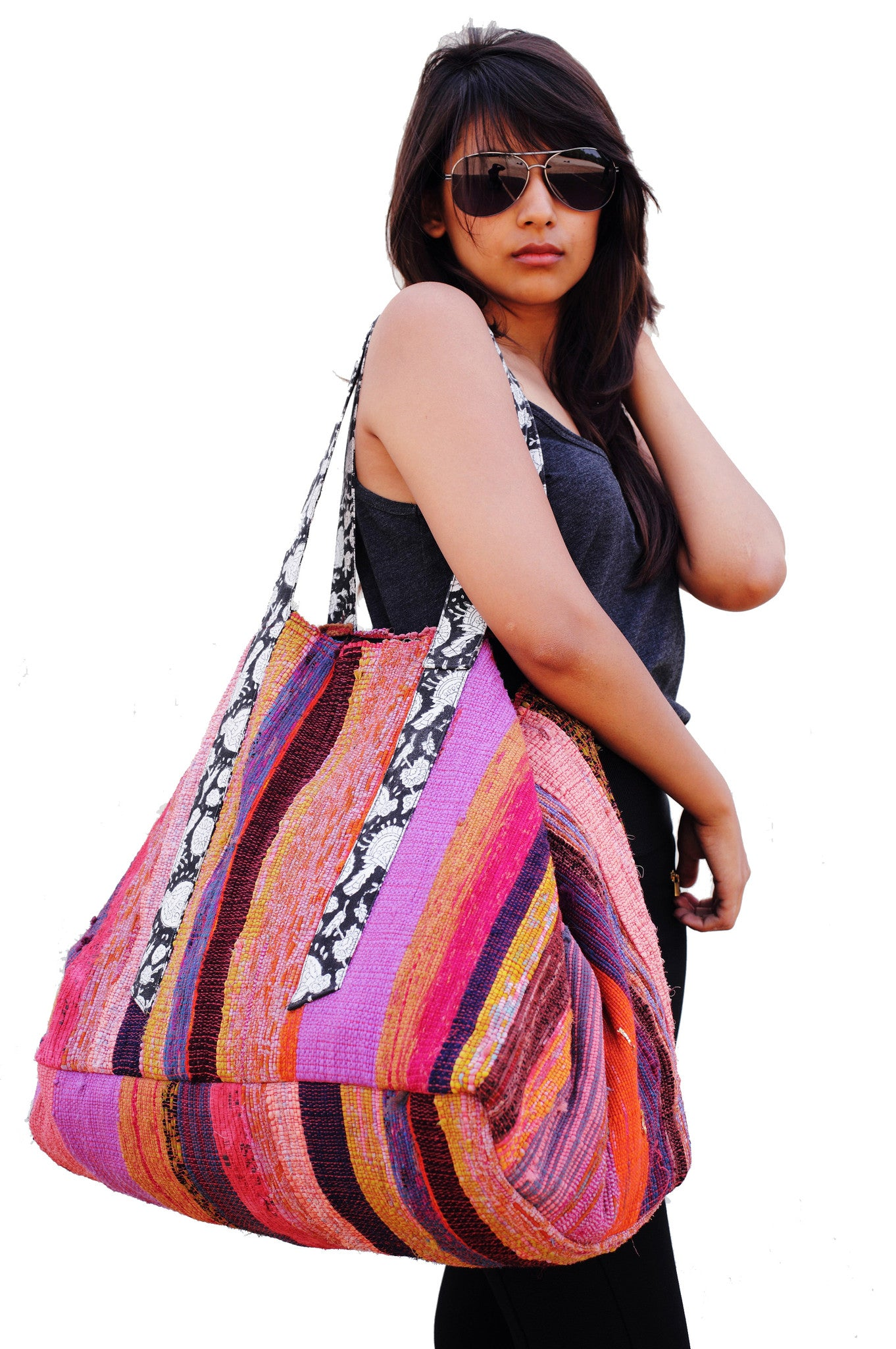 Raja Striped Carpet Tote Bag