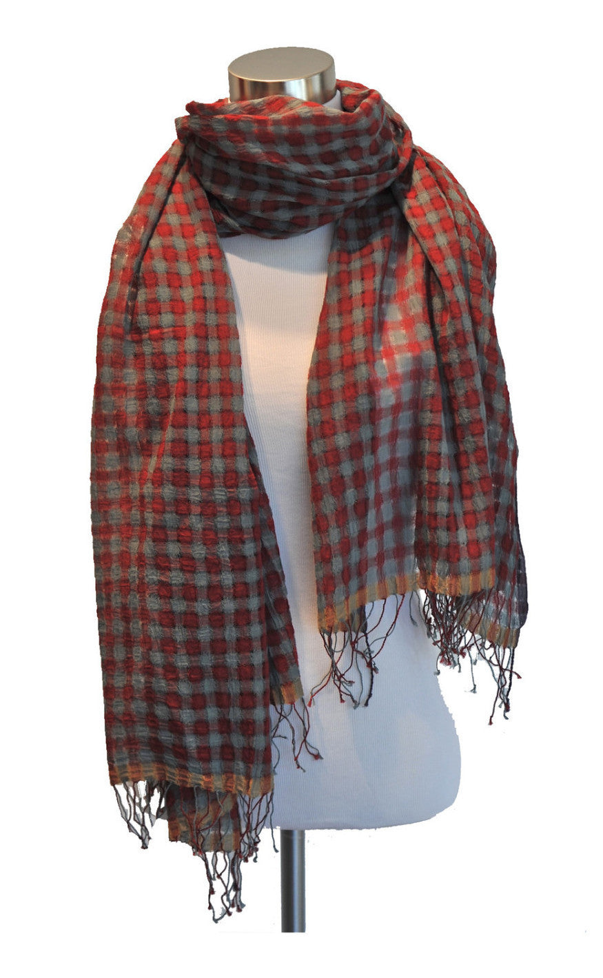 High Twist Check Scarf Red/Grey
