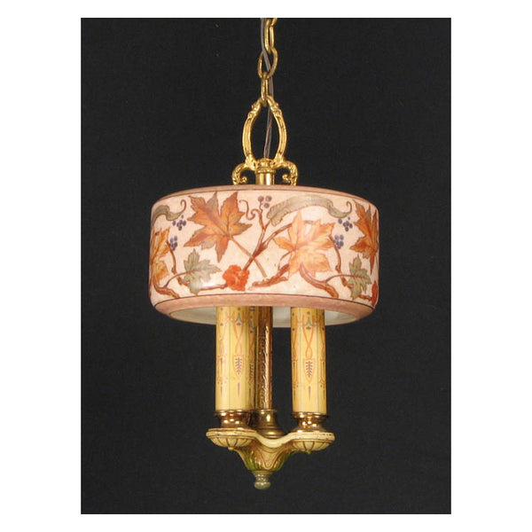 Three Light Hanging Fixture with Leaf Motif Shade