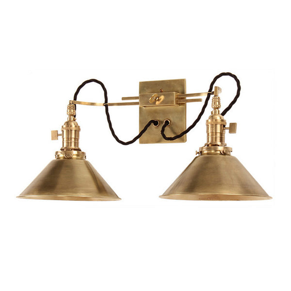 Reproduction - Adjustable Brass Two Arm Wall Light