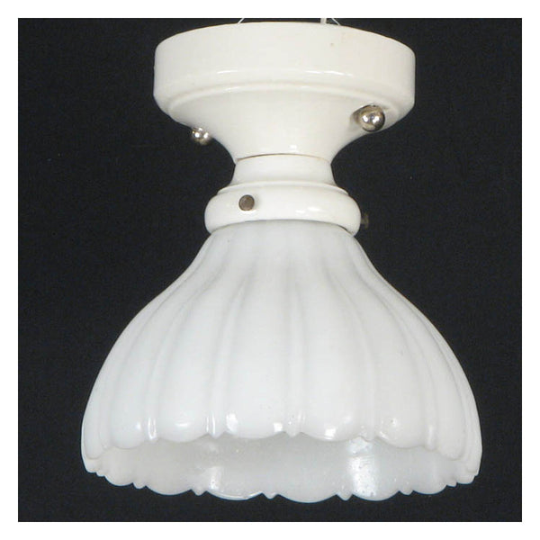 Rough Textured Camphor Glass Ceiling Light with Porcelain Fixture