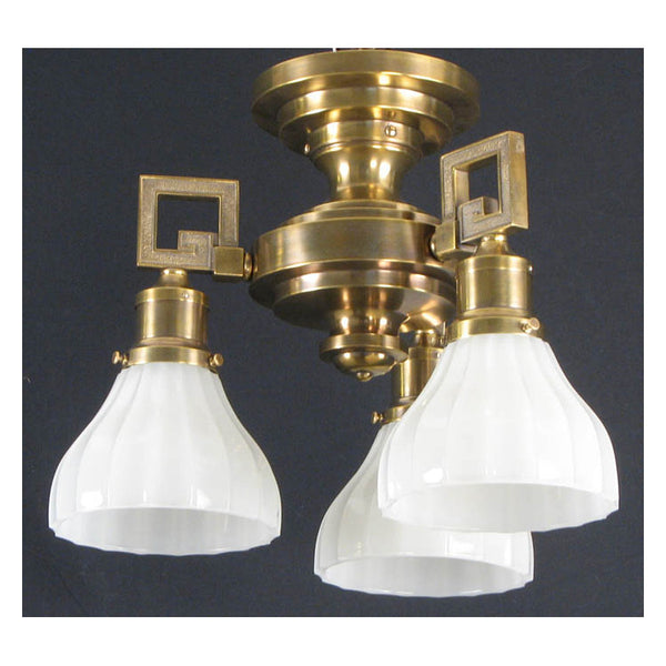 Three Arm Antique Ceiling Light with Camphor Glass Shades