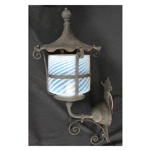 Wrought Iron Outdoor Wall Light with Vaseline Glass