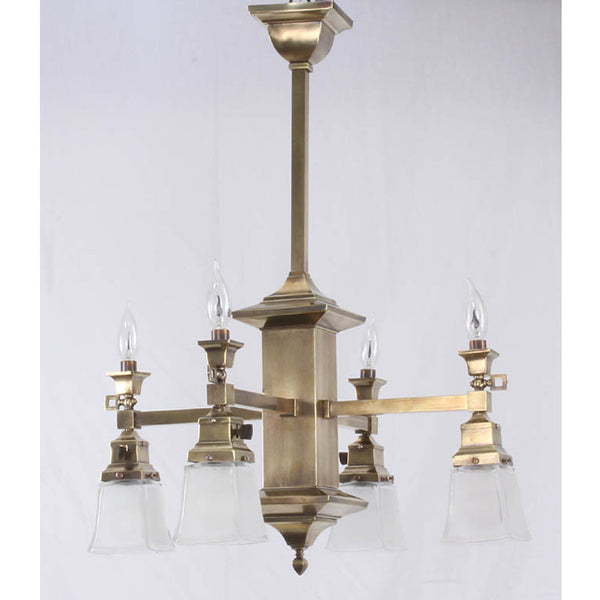 Four Arm Arts & Crafts Gas Electric Chandelier