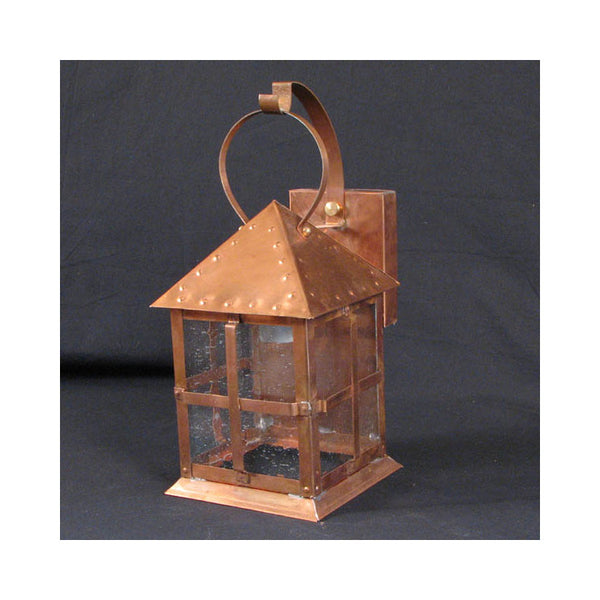 Reproduction - Small Arts & Crafts Copper Wall Lantern with Seeded Glass