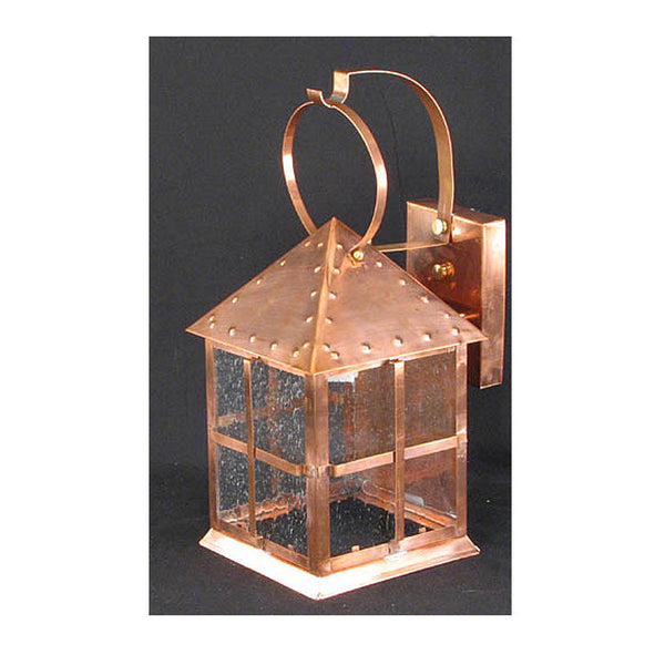 Reproduction - Large Arts & Crafts Style Copper Wall Lantern with Seeded Glass