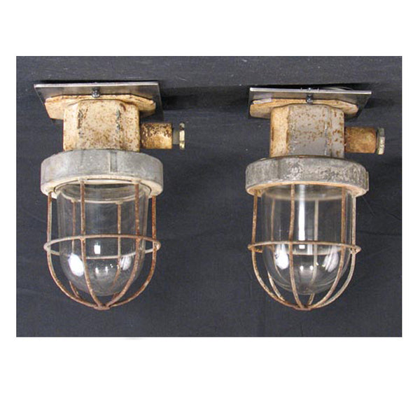 Pair Caged Industrial Ceiling Lights