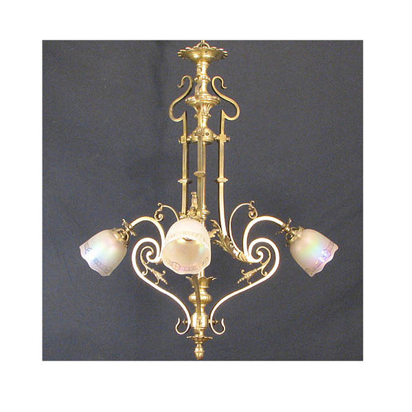 Three Arm Early Electric Cast Brass Chandelier