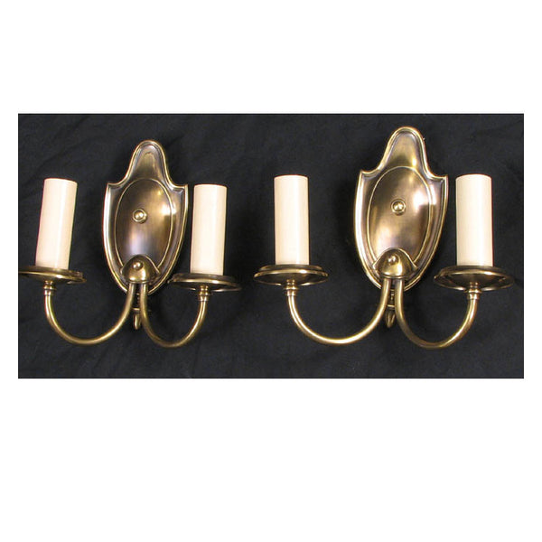 Pair Two Arm Cast Brass Wall Lights