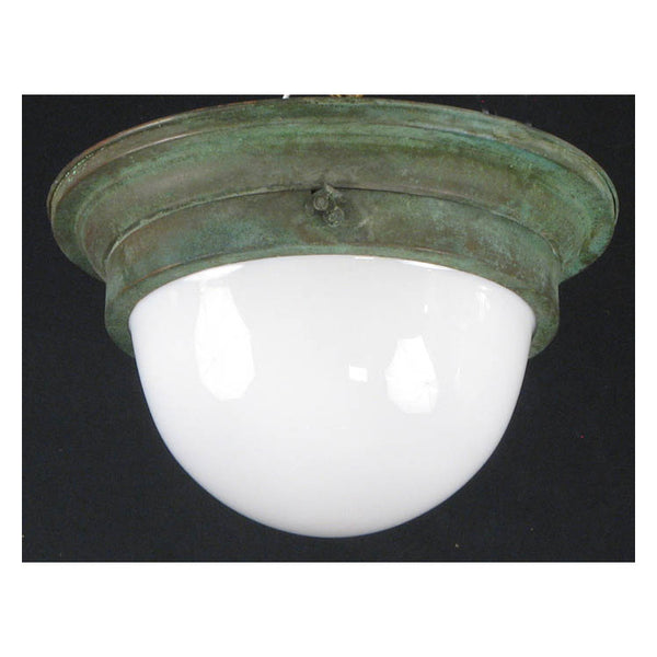 Verdigris Ceiling Light with Opal Glass
