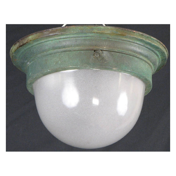 Verdigris Ceiling Light with Frosted Glass