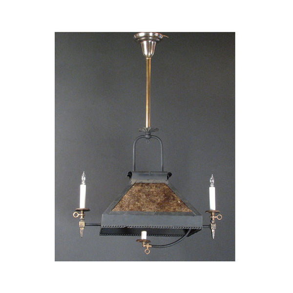 Arts & Crafts Three Light Gas Fixture with Mica Shades
