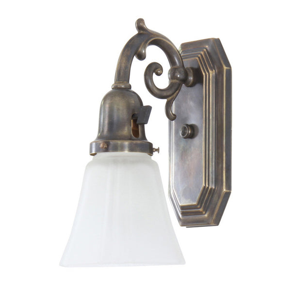 Reproduction - Brass Wall Light with Frosted Shade